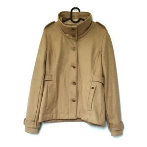 Obey funnel neck wool blend camel tan pea coat Med
